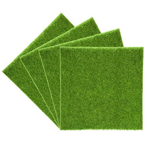 Yosoo Tapis de gazon artificiel Herbe en plastique pour intérieur et extérieur Gazon synthétique vert Décoration de maison 30cm*30cm, 2pcs
