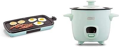DASH DEG200GBAQ01 Everyday Nonstick Electric Griddle, Aqua & DRCM200GBAQ04 Mini Rice Cooker Steamer with Removable Nonstick Pot, Keep Warm Function & Recipe Guide, Aqua