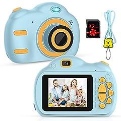 Caméra pour enfants - Appareil photo numérique pour enfants avec écran 2,5 pouces 1080P HD 18MP Intégré 32 Go TF TF Carte batterie USB pour les garçons Cadeaux d'anniversaire garçons (bleu)