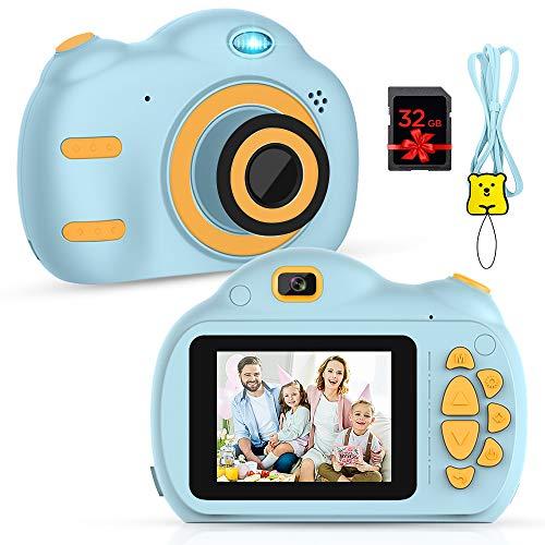 RAYROW Cámara para niños – Cámara digital para niños con pantalla de 2,5 pulgadas, 1080P HD 18 MP incorporada, tarjeta TF de 32 GB, USB, batería para niñas, niños, regalos de cumpleaños (azul)