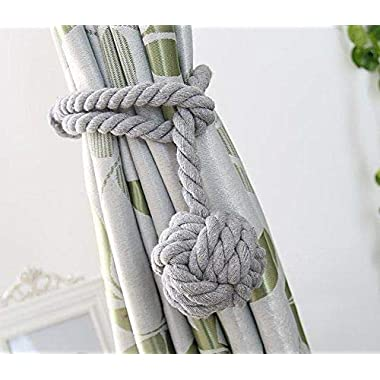YIDIE 4 Pieces Cotton Rope Holdbacks Hand Knitting Window Curtain Tiebacks for Blackout Curtains, Grey