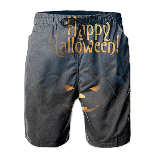 ZEALTRAIL Men's Swim Trunks Quick Dry Bathing Suits Best Happy Halloween Beach Shorts with Mesh Lining