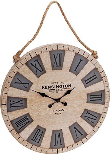 50cm reloj de pared con números romanos de madera interior Retro reloj con cuerda para colgar