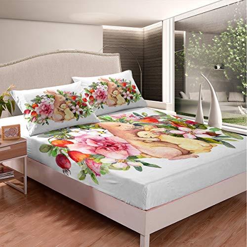 Tbrand - Set di lenzuola con coniglietto pasquale con fiori di coniglio e coniglio, per bambini, ragazzi, ragazze, set di biancheria da letto in stile flora, 3 pezzi, king size