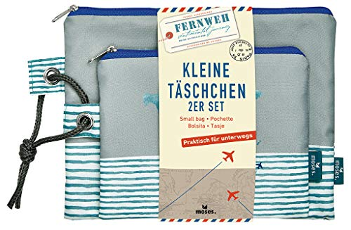 moses. Fernweh Täschchen Bon Voyage 2er Set | 2 Kosmetiktaschen für die Reise Schminkutensilien Pochette per trucco, 22 cm, Grigio (Grau)