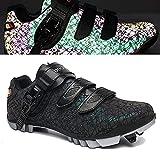 HYQW MTB Zapatillas De Ciclismo para Hombres, Zapatos De Bicicleta De Montaña con SPD Auto-Lock Road Sneakers Zapatos De Rotación VIIPOO,Black-46EU