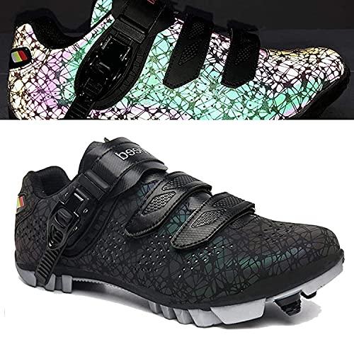 HYQW MTB Zapatillas De Ciclismo para Hombres, Zapatos De Bicicleta De Montaña con SPD Auto-Lock Road Sneakers Zapatos De Rotación VIIPOO,Black-40EU