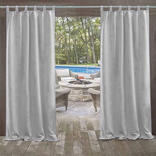 UniEco - Outdoor Vorhang mit Klettverschluss, Garten Patio Ballon Vorhänge, Blackout, Wasserdichter Mehltau beständig für Pavillon Strandhaus, 1 Stück, 132x245cm, Farbe Grau Weiß