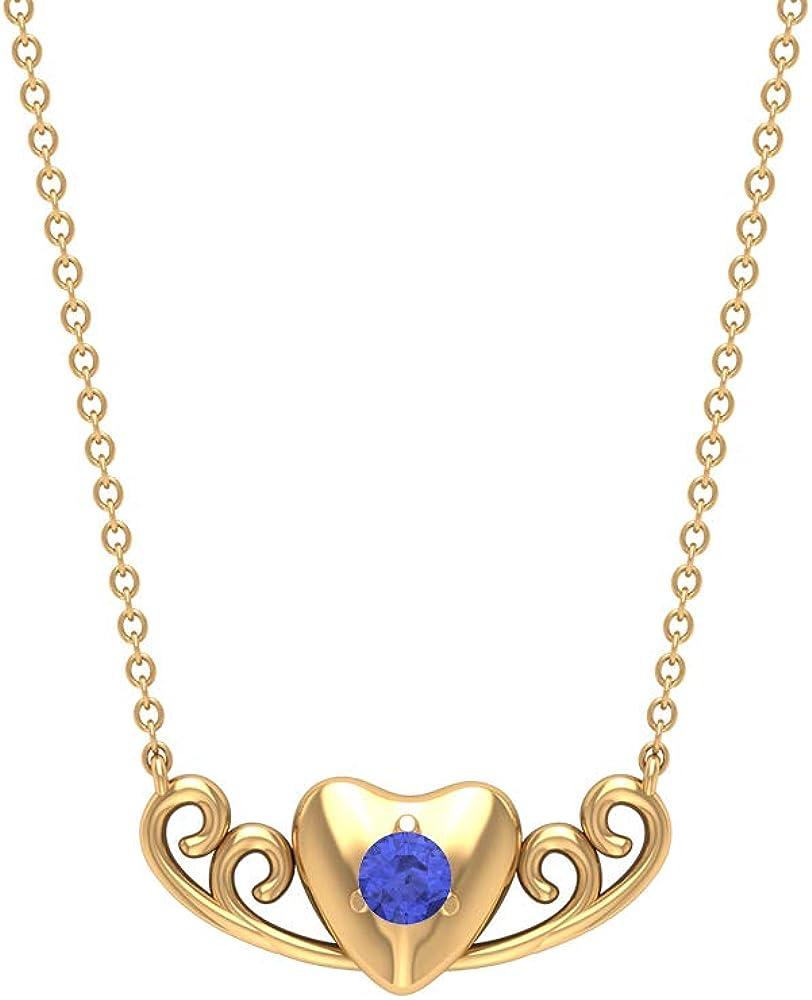 Vintage Heart Necklace, Solitaire Tanzanite Pendant, Antique Chain Charm Necklace, Love Statement Pendant, Anniversary Pendant, Drop Pendant