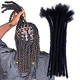 YONNA Human Hair Microlocks Sisterlocks Dreadlocks Extensions 20Locs Full Handmade (Width 0.4cm) 8inch Natual Black #1B