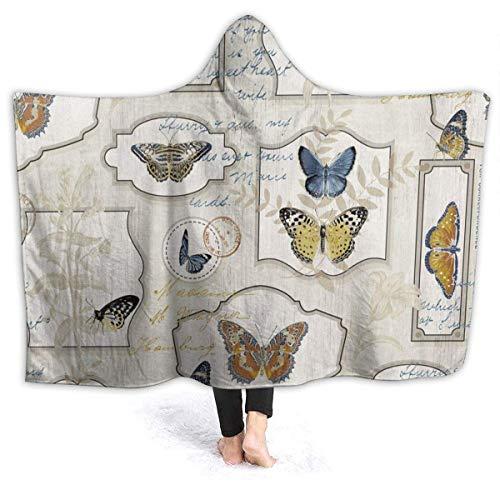 Manta De La Siesta Felpa Sofás Franela Hooded Farfalle W102cm X L127cm Buen sueño Hoodie