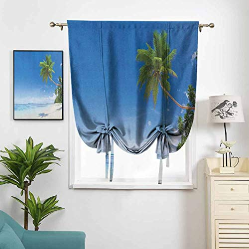 Dasnh Short Polyester Roman Curtain Tropical Beach with Palm Trees W42 x L72 High Blackout for Kitchen