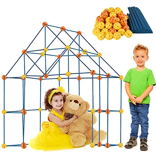 Kids Fort Building Kits 158 Pieces Creative Fort Toy for 3 4 5 6 7 Years Old Boy and Girls Learning Toys DIY Building Castles Tunnels Play Tent Rocket Tower Indoor and Outdoor
