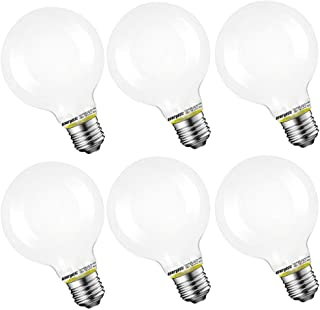 Dimmable Vanity Makeup Mirror Lights Bulb, G25 Globe Shape, White Frosted Glass, 60W Equivalent, 5000K Daylight, E26 Standard Base, UL Listed, 6-Pack