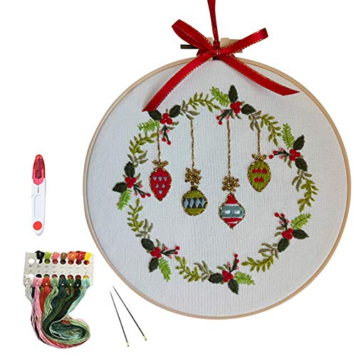 Embroidery Starter Kit with Cute Pattern,Cross Stitch Set, Full Range of Stamped Embroidery Kits with Embroidery Clothes with Christmas Tree, Bamboo Embroidery Hoop, Color Threads and Tools Kit