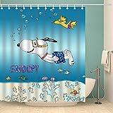 OceanCube Duschvorhang-Set mit Cartoon-Motiv, handgezeichneter H&, Tauchen in Ozean mit Snoopy-Polyester-Stoff, Badvorhang, langlebig, Badezimmer-Vorhang mit Haken, 180 x 180 cm