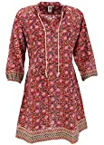 Guru-Shop Boho Tunika, Indische Blusentunika, Minikleid, Damen, Rot, Baumwolle, Size:XL (44), Blusen & Tunikas Alternative Bekleidung