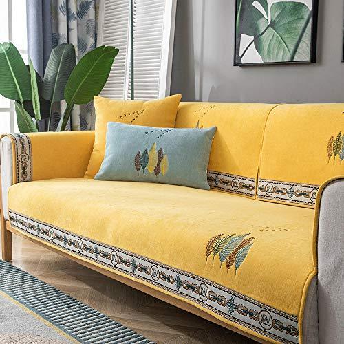 Homeen Sofa Cover,Couch Coat Funda Protectora para sofá de Cocina/salón,1/2/3/4 plazas Escudo de sofá Bordado,Funda de cojín de sofá Antideslizante Universal-Amarillo_Los 70 * 210cm