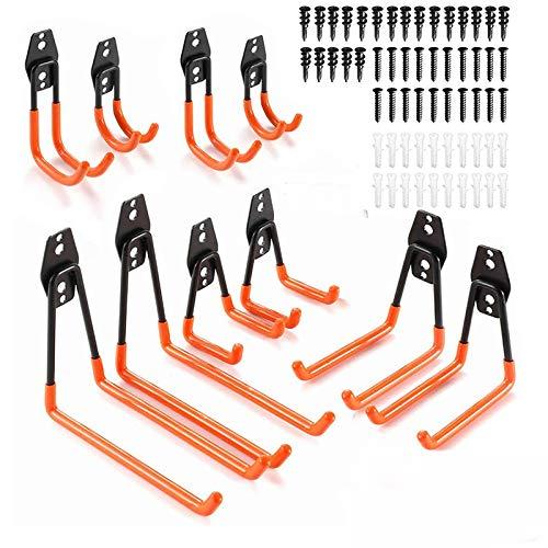 FIAMER Garage in acciaio per riporre ganci doppi, ganci a U lunghi, per impieghi gravosi, deposito attrezzi per scale, bici, tubi flessibili e altre attrezzature