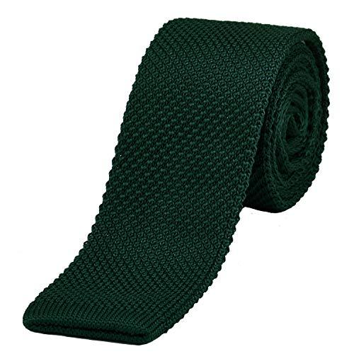 DonDon schmale Strickkrawatte dunkelgrün 5 cm