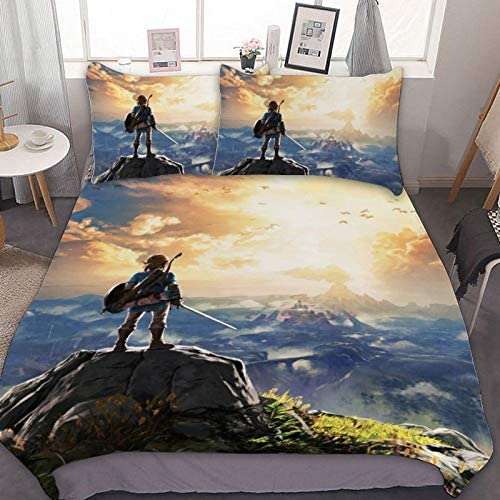 Bedding Duvet Cover Set TWIN 68x86 inch Legend of Zelda Breath of The Wild Link 3 Pieces Bedding product image