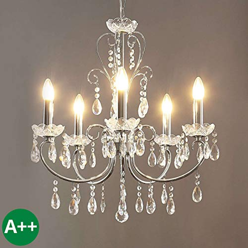 Lampenwelt Kristall Kronleuchter 'Solveig' dimmbar (Modern) in Chrom aus Metall u.a. für Wohnzimmer & Esszimmer (5 flammig, E14, A++) - Pendelleuchte, Hängelampe, Lüster, Lampe, Deckenleuchte