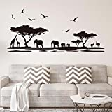 ufengke Silueta Africana del Safari Pegatinas de Pared Árboles Elefante Jirafa Aves Antílope Negro Decorativo Extraíble DIY Vinilo Pared Calcomanías para Sala de Estar, Dormitorio