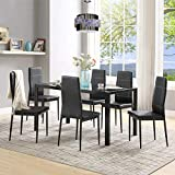 7 Pieces Dining Table Set, Elegant Tempered Glass Table and 6pcs Faux Leather Dining Chairs, Perfect for Kitchen, Breakfast Nook, Bar, Living Room