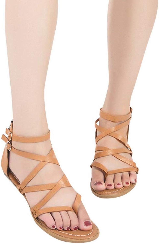 T-JULY Women Ladies Sandals Cross Strap Women's Sandals Flat Platform shoes Beach Fashion Flat Roman shoes Casual shoes