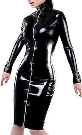 f7fb645977d3 Fashion Queen Women s Fetish Dress Long Sleeve Gothic Punk Dress Lace-up  Catsuit