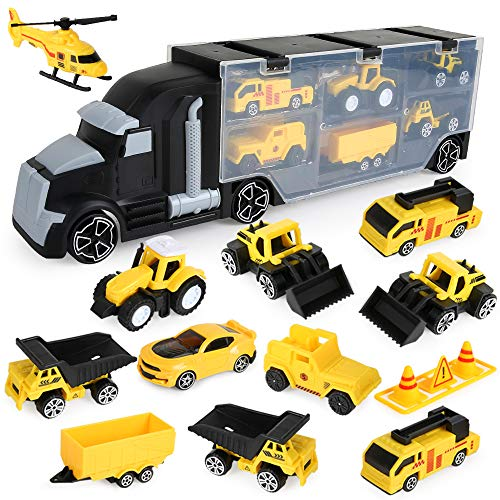 BeebeeRun 12 in 1 Engineering Construction Truck Transport Car Carrier, Truck Learning Toys Play Vehicles Car Gifts Set for Kids Boys Girls
