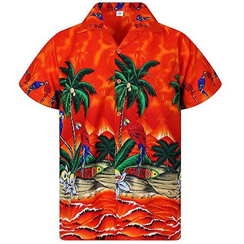Männer T-Shirt Hawaiian Shirt Short Sleeve Revers Groß Lose Polyester Böhmen Ethnischen Style-Taste Drucken Lässige Mode Tropischen Strand Sommer, H, M