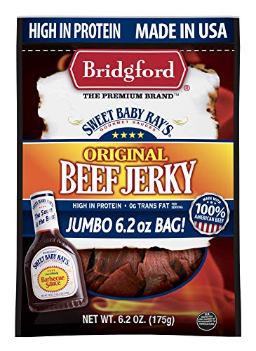 Bridgford Sweet Baby Ray's Original Beef Jerky, High Protein, Zero Trans Fat, Made With 100% American Beef, 6.2 Oz, Pack of 1