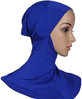 Women Tight Muslim Scarf Solid Color Cotton Turban Headscarf (Blue)
