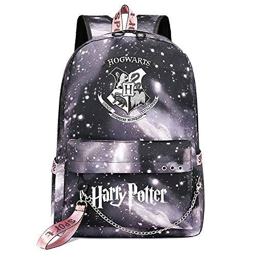 Mochila de Ocio para Estudiantes de Hogwarts, Mochila Harry Potter Grey Starry Sky, con Mochila de Interfaz de Carga USB style-10