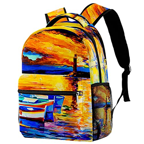 Mochilas de viaje de campus, pintura al óleo bolsas de puesta de sol con soporte para botellas para niñas y niños