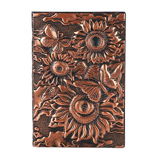 Cuaderno de notas con rayas, tapa dura, con marcapáginas, cuaderno en blanco, portátil, bloc de notas, planificador, diario de viaje, en relieve, cuaderno diario