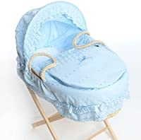Isabella Alicia Traditional Baby Blue Broderie Anglaise Maize Moses Basket with Folding Stand and Mattress