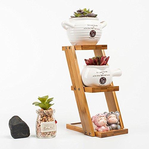 WEBO HOME- Bureau petit support de fleurs balcon à plusieurs étages cadre de fleurs salon en bois véritable étagère de fleurs -Étagère
