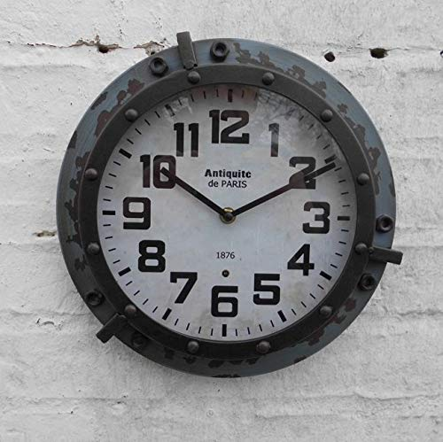 Deko-Impression Wanduhr/Uhr Antik-Style Paris Loftstyle dunkelgrau Eisen 28 cm