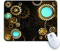 ECOMAOMI 可愛いマウスパッド 金の真鍮の歯車と青いレンズと黒のスチームパンクな背景 滑り止めゴムバッキングマウスパッドノートブックコンピュータマウスマット