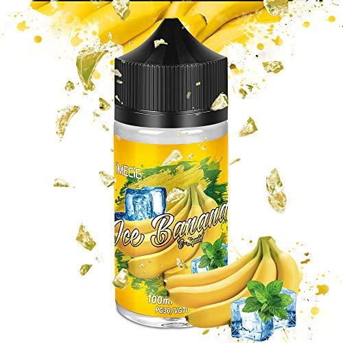 IMECIG® E Liquid Set 70VG/30PG E Liquids für E Zigarette/E Shisha, 100ML, ohne Nikotin (Eis Banane)