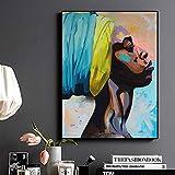 IHlXH Contemplatore Ritratto afroamericano Pittura a Olio su Tela Poster e Stampe Quadro su Tela per Soggiorno A1 40x60 Senza Cornice