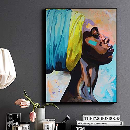WSWWY Contemplador Retrato afroamericano Pintura al óleo sobre Lienzo Carteles e Impresiones Arte Cuadro de Pared para Sala de Estar (Sin Marco) 50x70CM