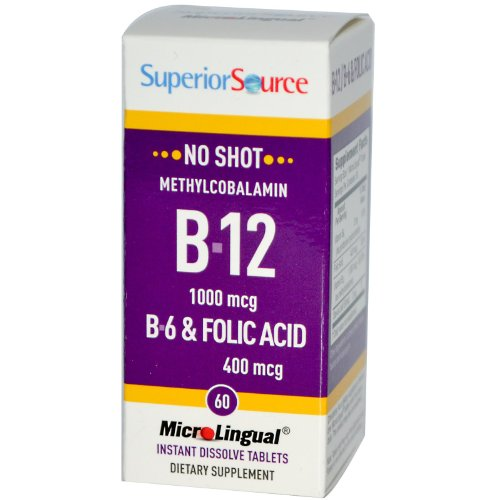 MicroLingual No Shot Methylcobalamin B12 (1000mcg) + B6 & Folic Acid (400mcg) 60 tabs