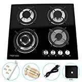 24' inches Gas Cooktop Tempered Glass Built in Gas Stove 4 Burners Gas Stoves Cooktop (4 Sealed Burners) Stove Burner Cast Iron Grate Stove-Top LPG/NG Dual Fuel Thermocouple Protection and Easy to Cle