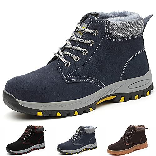 Gainsera - Zapatos de seguridad para hombre y mujer, con punta de protección de acero, Azul (Azul Invierno), 44 EU
