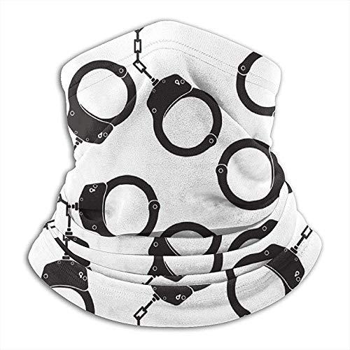 GWrix Politie handboeien patroon nekverwarmer Gamas bivakmuts skimasker koud weer gezichtsmasker winter hoed hoofddeksels voor mannen vrouwen zwart
