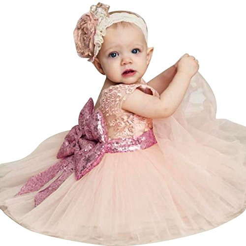 Inlefen Girls Bowknot Lace Princess Skirt Summer Sequins Vestidos para bebés niños pequeños 0-5 años Old Pink 90/1-2years