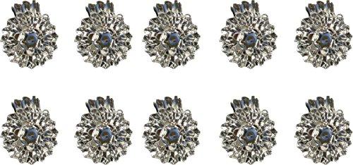 Weihnachtsschmuck Christbaumkerzenhalter - Ø 15 mm, Silber, 10 Stück